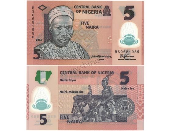 Nigérie - bankovka 5 naira 2014 UNC, polymerová bankovka