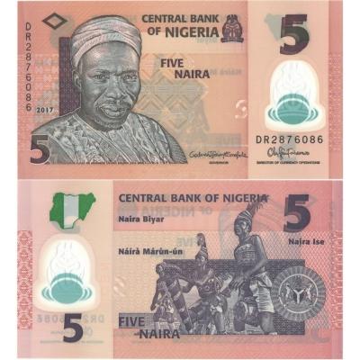 Nigérie - bankovka 5 naira 2017 UNC, polymerová bankovka