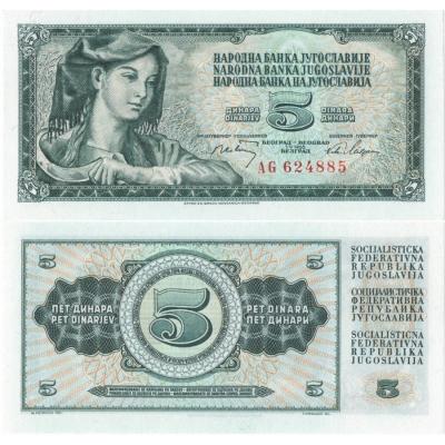 Jugoslávie - bankovka 5 dinara 1968 UNC