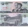 KLDR -bankovka 5 Won 2002 UNC