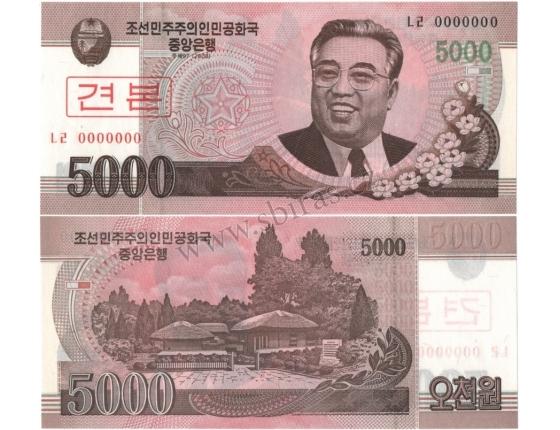 KLDR -bankovka 5000 Won 2008 UNC, anulát