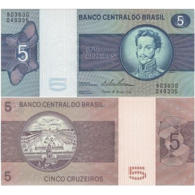 Brazílie - bankovka 5 Cruzeiros 1974 aUNC