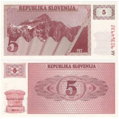 Slovinsko - bankovka 5 Tolarů 1990 UNC, série AA