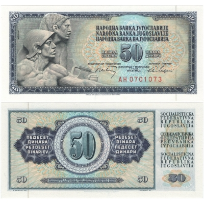 Jugoslávie - bankovka 50 dinara 1968 UNC