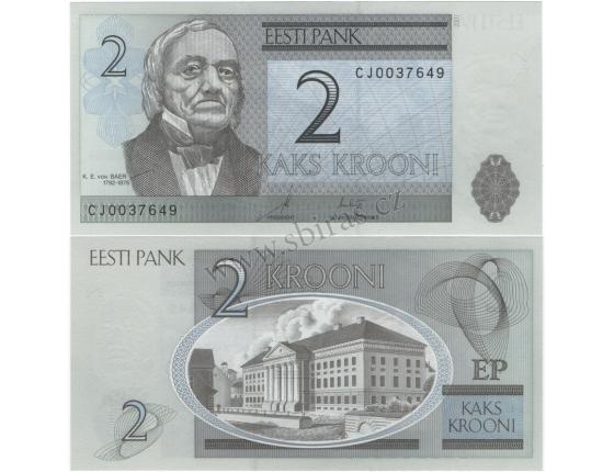 Estonsko - bankovka 2 krooni 2007 UNC