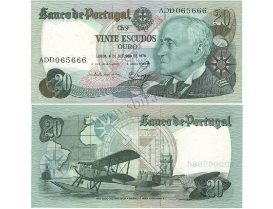 Portugalsko - bankovka 20 Escudos 1978