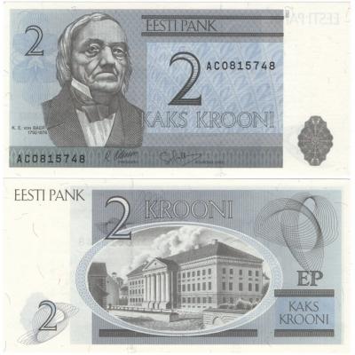 Estonsko - bankovka 2 krooni 1992 UNC