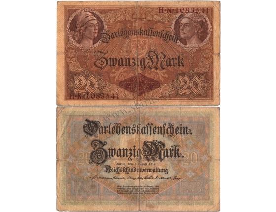 Německé císařství - bankovka 20 marek 1914, sedmimístný číslovač