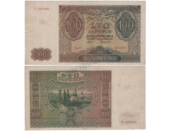 Polsko - bankovka 100 zlotych 1941