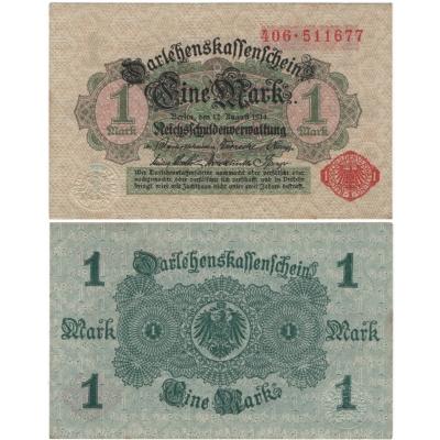 Německé císařství - bankovka 1 marka 1914