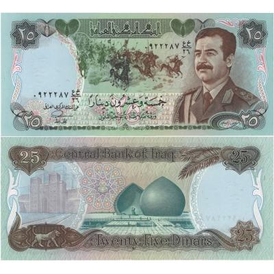 Irák - bankovka 25 dinars 1986 UNC, Saddám Husajn ve vojenské uniformě