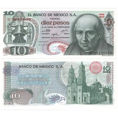 Mexiko - bankovka 10 pesos 1975 UNC