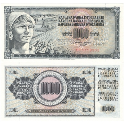 Jugoslávie - bankovka 1000 dinara 1981 UNC