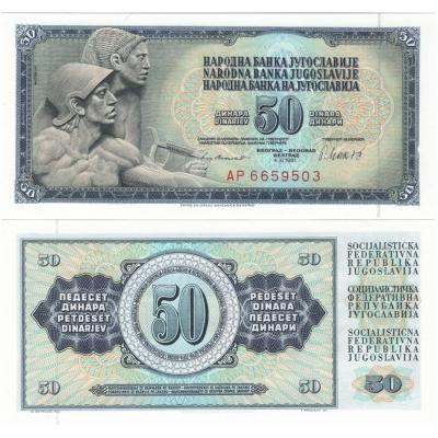 Jugoslávie - bankovka 50 dinara 1981 aUNC