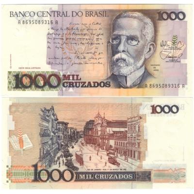 Brazílie - bankovka 1000 cruzados 1988 UNC