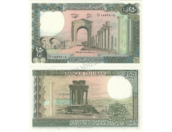 Libanon - bankovka 250 liber 1988 UNC