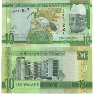Gambie - bankovka 10 dalasis 2015 UNC