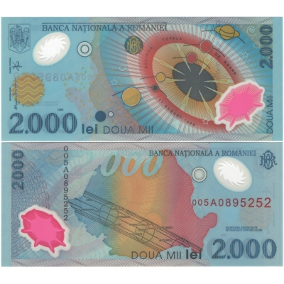 Rumunsko - bankovka 2000 Leu 1999 UNC, polymerová bankovka