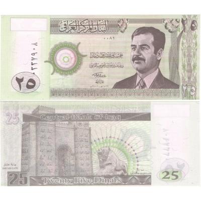 Irák - bankovka 25 Dinars 2001 aUNC