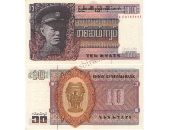 Barma - bankovka 10 kyat 1973 UNC