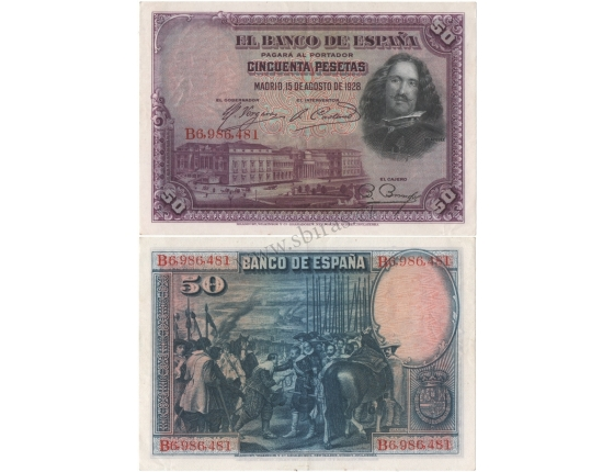 Španělsko - bankovka 50 pesetas 1928