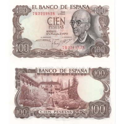 Španělsko - bankovka 100 pesetas 1970