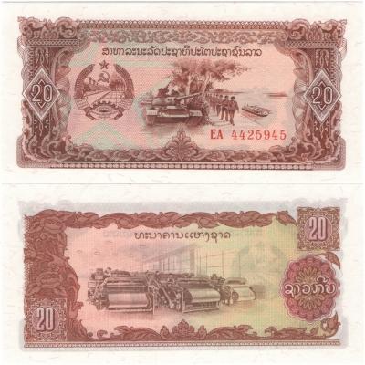 Laos - bankovka 20 kip 1988 UNC