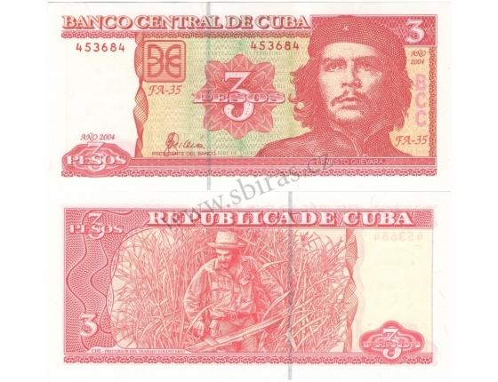 Kuba - bankovka 3 Pesos 2004, Che Guevara UNC