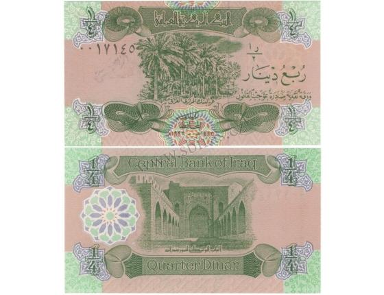 Irák - bankovka 1/4 Dinars 1993 UNC