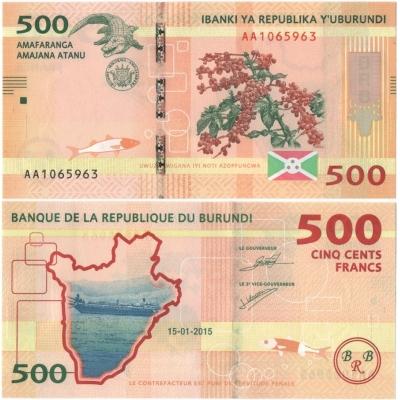 Burundi - bankovka 500 franků 2015 UNC