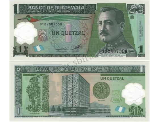 Guatemala - bankovka 1 quetzal 2012 UNC, polymerová bankovka
