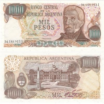 Argentina - bankovka 1000 pesos 1976-83 UNC