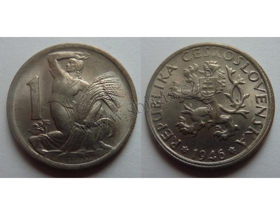Československo - mince 1 koruna 1946