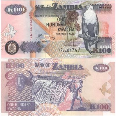 Zambie - bankovka 100 kwacha 2009 UNC
