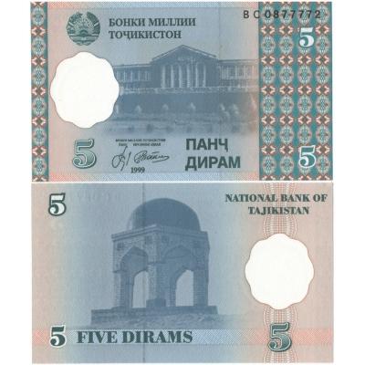 Tádžikistán - bankovka 5 dirham 1999 UNC