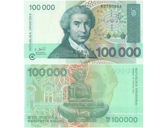 Chorvatsko - bankovka 100 000 dinara 1993 UNC