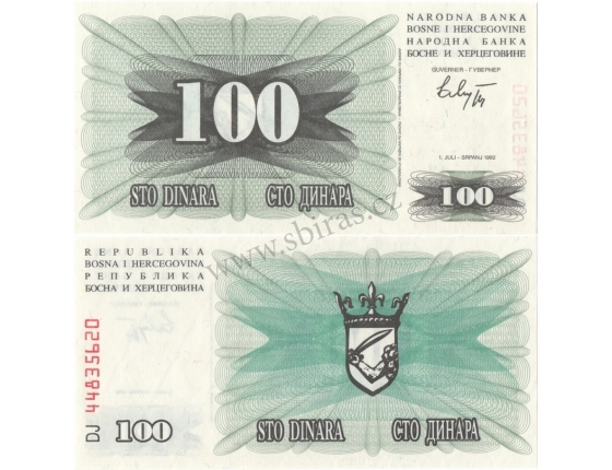 Bosna a Hercegovina - bankovka 100 dinara 1992 UNC