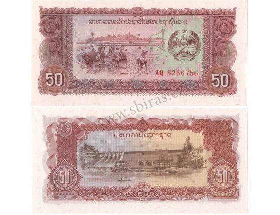 Laos - bankovka 50 kip 1979 UNC