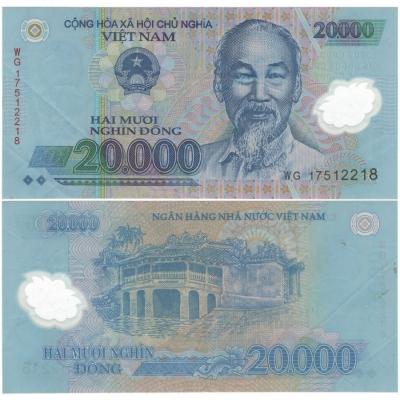 Vietnam - bankovka 20 000 dong bl, polymerová bankovka