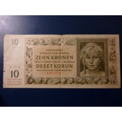 10 korun 1942 S.31A neperforováno