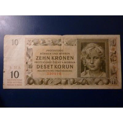 Protektorát Čechy a Morava - bankovka 10 korun 1942