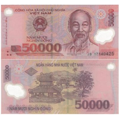Vietnam - bankovka 50 000 dong bl, polymerová bankovka