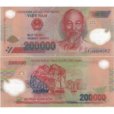 Vietnam - bankovka 200 000 dong bl, polymerová bankovka