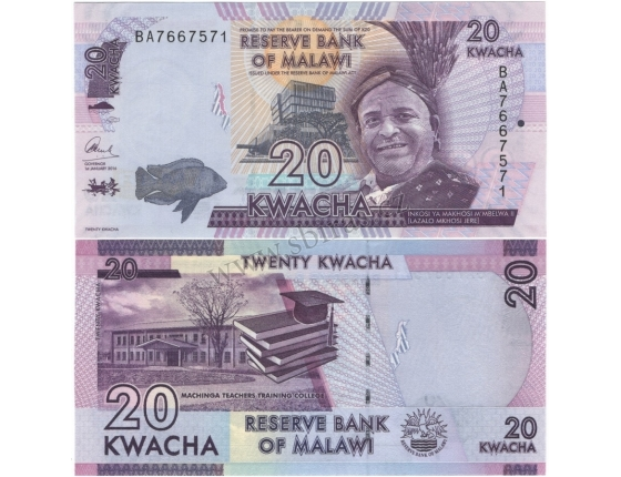 Malawi - bankovka 20 kwacha 2016 UNC