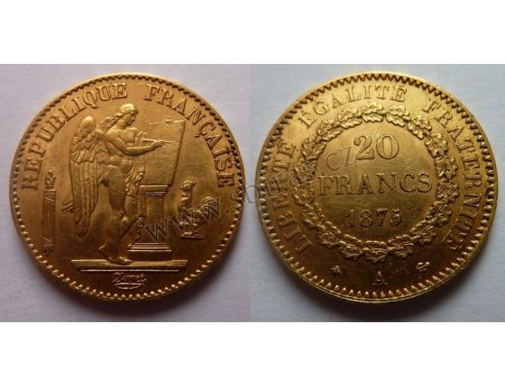 Francie - zlatá mince 20 franků 1875 A