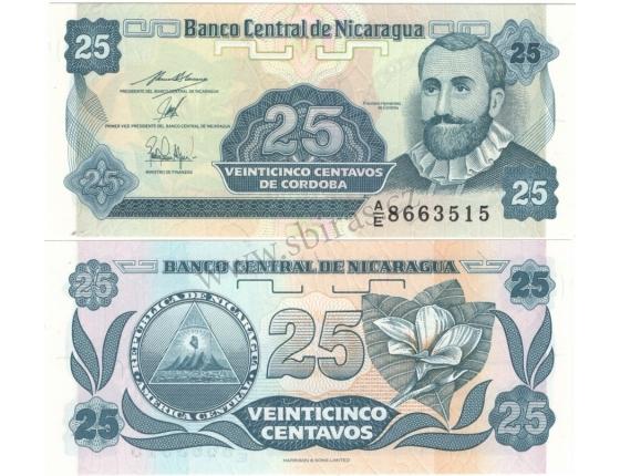 Nikaragua - bankovka 25 centavo 1991 UNC