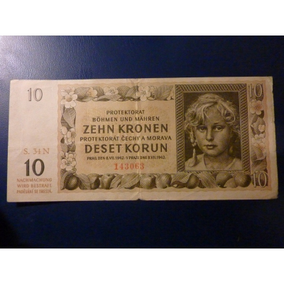 10 korun 1942 S.34N neperforováno