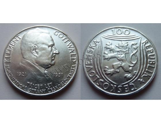 100 Kčs 1951 - 30 let Komunistické strany Československa