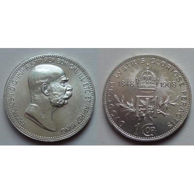 1 koruna 1908 jubilejní - 60 let vlády F.J. I.