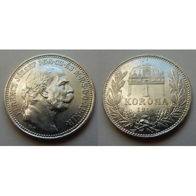 František Josef I. - stříbrná mince 1 koruna 1914 k.b.